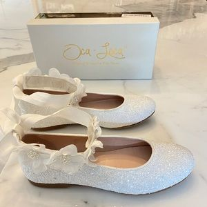 White dressy leather glitter shoes - kids size 33